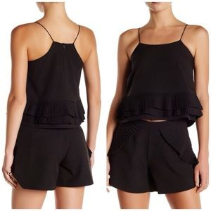 Gracia Black Pleated Cutaway Cami