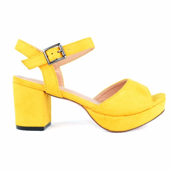 Chase & Chloe Shoes - Yellow Sling Back Peep Toe Low Heeled Platform