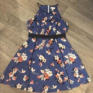 Loft blue floral dress size 6