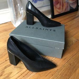 Like New All Saints Black Leather Xerxes Heel