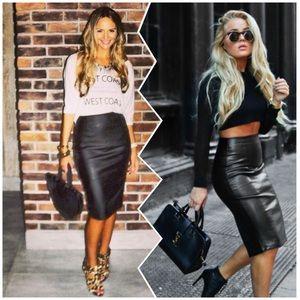 Gap long leather pencil skirt
