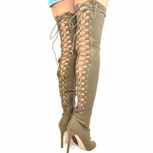 Chase & Chloe Shoes - Olive Peep Toe Back Lace Up Over The Knee Boot