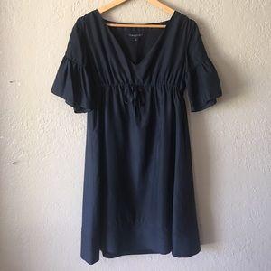 Gap Navy silk dress w bell sleeves