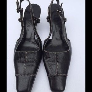 Celine Slingback Pumps Leather 6.5 Made in Italy