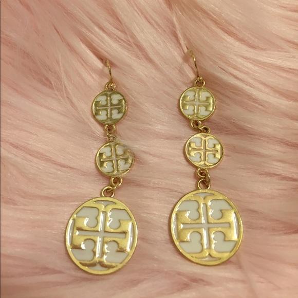 be1208d26 Tory Burch Drop / Dangle Earrings in White & Gold.  M_59f3a900c6c795806d02aaae