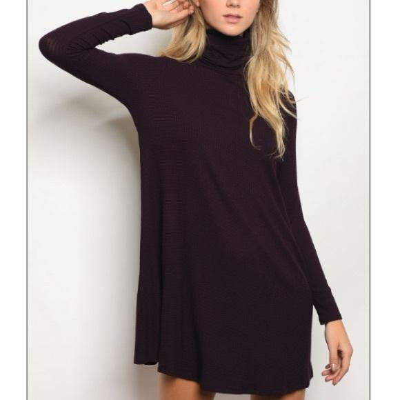 cf1686337dca Eggplant black turtleneck skater dress
