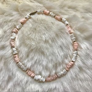 Vintage lt.coral pink/white & copper bead necklace