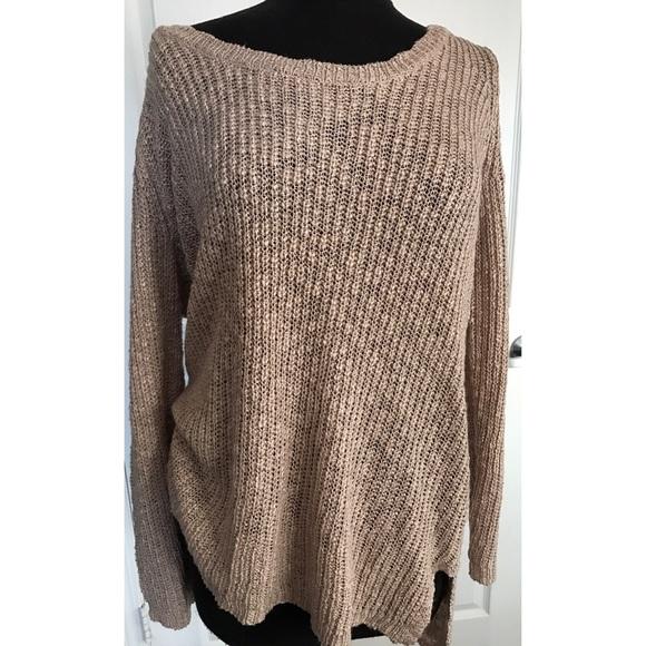 36215220473 Plus Size Slouchy Tan Sweater