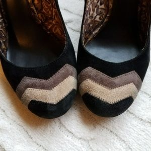 MISSONI Chevron, Black, and Woodgrain Heels