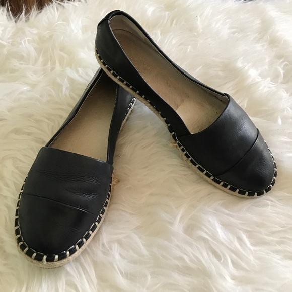 Aldo Black Leather Espadrille Flats
