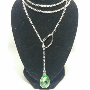 Jewelry - Silver Emerald Lariat Necklace