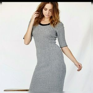 Gray Striped 3/4 Sleeve Sweater Dress