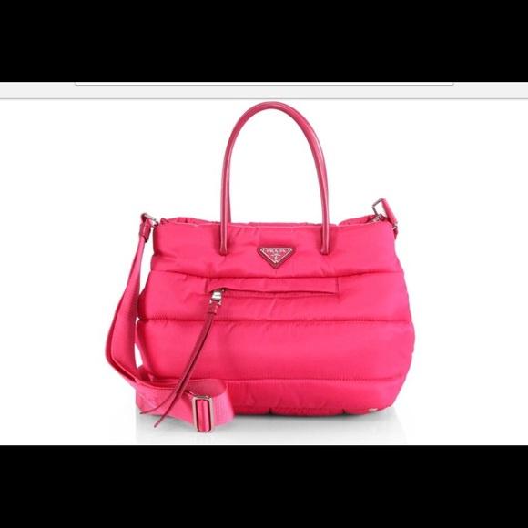 e7dd6b31fb92 Prada Tessuto Bomber handbag medium tote. Hot pink.  M 59f3b87aa88e7db9b402eb97
