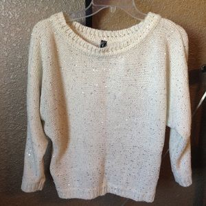Sweaters - White cream sequin sparkle sweater loose knit