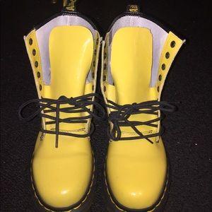Yellow Combat Doc Marten Boots