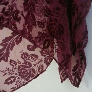 Accessories - Burgundy velvet burn out sheer scarf