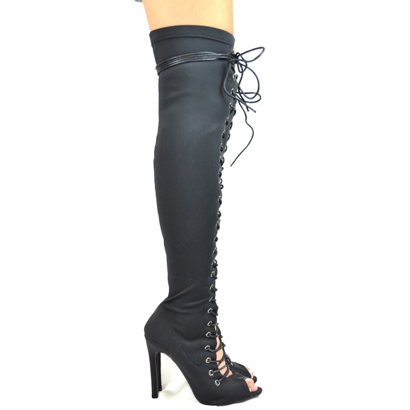 b6741b5eb714 Black Peep Toe Front Lace Up Over The Knee Boot. Boutique