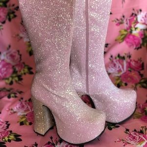 Barbie pink glitter platform knee high boots NOS