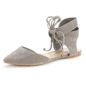 Shoes - Ankle Cuff Lace Up D'orsay Flats