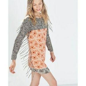 b1801400 Zara Dresses   Printed Colorblock Fringe Shift Dress   Poshmark