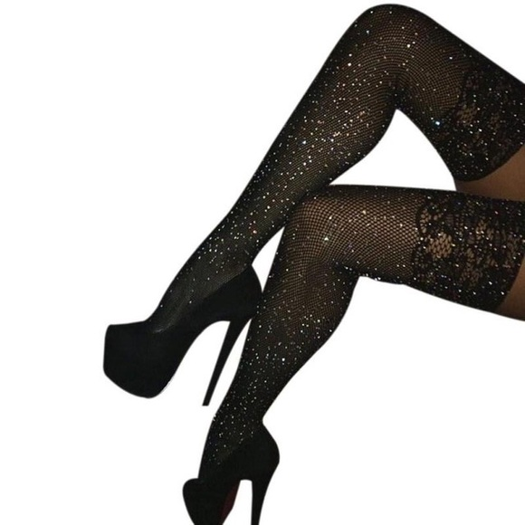 facb0dd4f Accessories - Black rhinestone knee highs