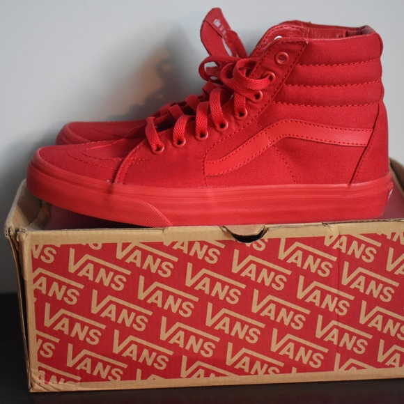 All Red Vans Hi Tops NEW Size 8.5 women 7 men 66c18688d