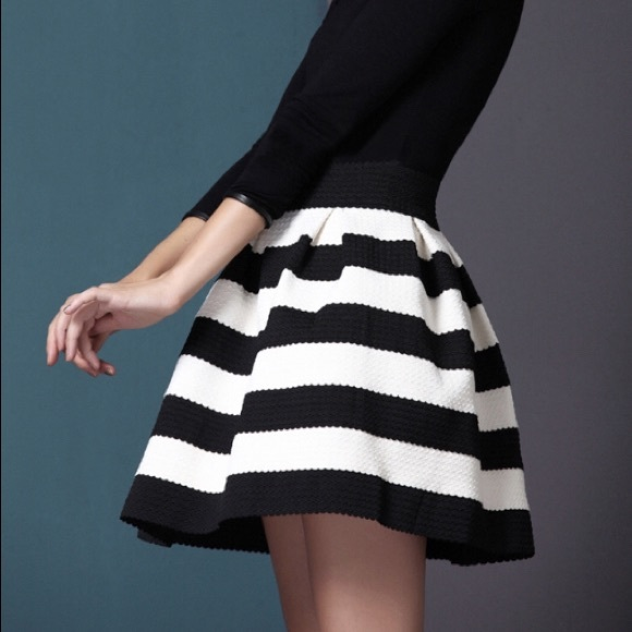 Would black white striped skirt