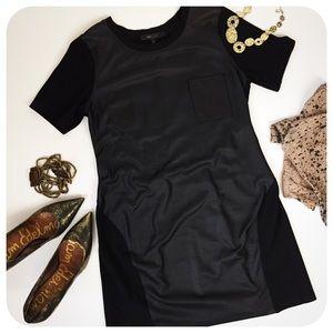 {{ BCBGMaxAzria }} Black Coated Panel Shift Dress