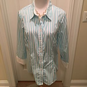 Nearly New 3/4 Sleeved Aqua & White Striped Blouse