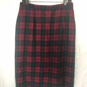 Vintage PENDLETON Long Red Plaid Skirt Size 12