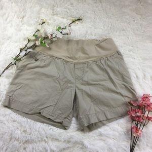 Tan maternity shorts