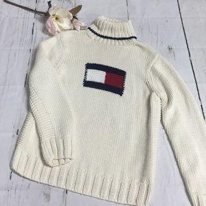 Vintage Tommy Hilfiger Hand Knit big logo Sweater