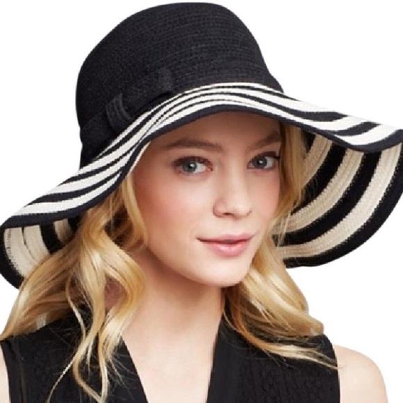 Kate Spade black striped floppy hat w bow 27d5affd581
