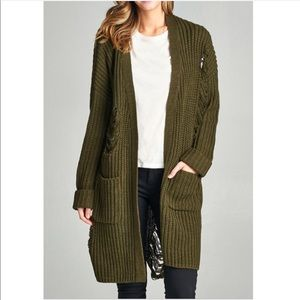 Sweaters - •SALE• Olive Distress Oversize Cardigan