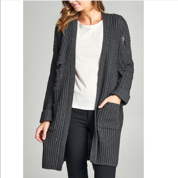 Sweaters - •SALE• Charcoal Distress Oversize Cardigan
