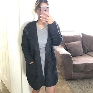 Sweaters - •SALE• Charcoal Distress Oversize Cardigan