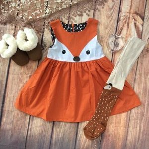 Boutique Girls Fox Dress & Tights 2pc Outfit