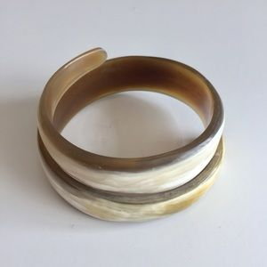 Natural Horn Swirl Bangle Bracelet
