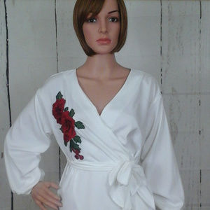 Tops - White Wrap Medium Blouse with Rose Embroidery