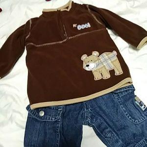 Boys Carters fleece sweatshirt, shirt & jeans 6m