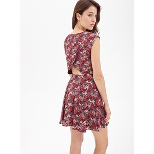 Floral print dress open back tulip flare