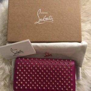 df018387539 Christian Louboutin Pink Spike Macaron Wallet