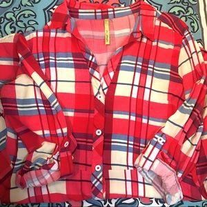 Dresses & Skirts - Red Plaid Shirt Dress