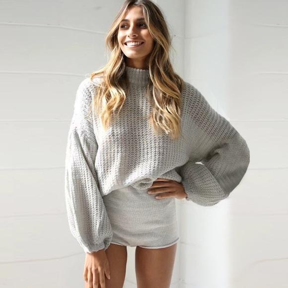 fairlygirly - 💥 SALE Oversized Dolman Loose Knit Sweater Grey ...