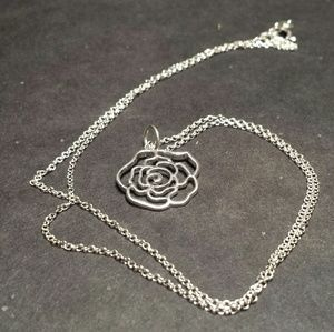Jewelry - NWOT Sterling silver rose charm necklace
