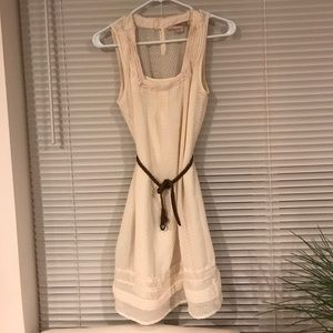 Fully lined cream dress with dots and lace detail