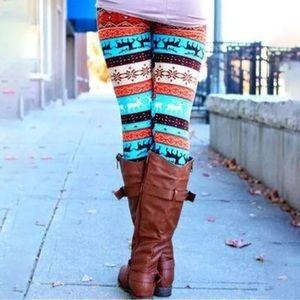 Colorful Reindeer Leggings! NEW!