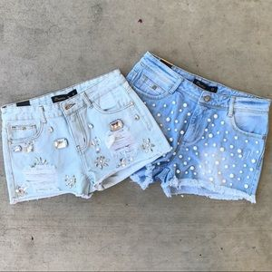 Sparkle Destructed Frayed Jewel Denim Shorts