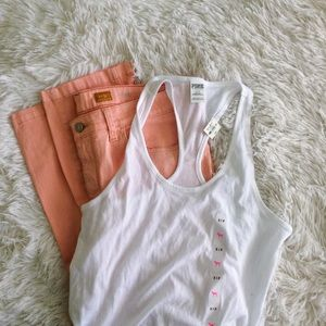 PINK white racer back tank top NWT