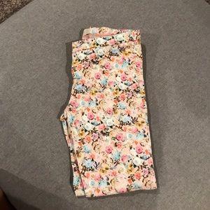 Zara girls floral ankle skinny pants